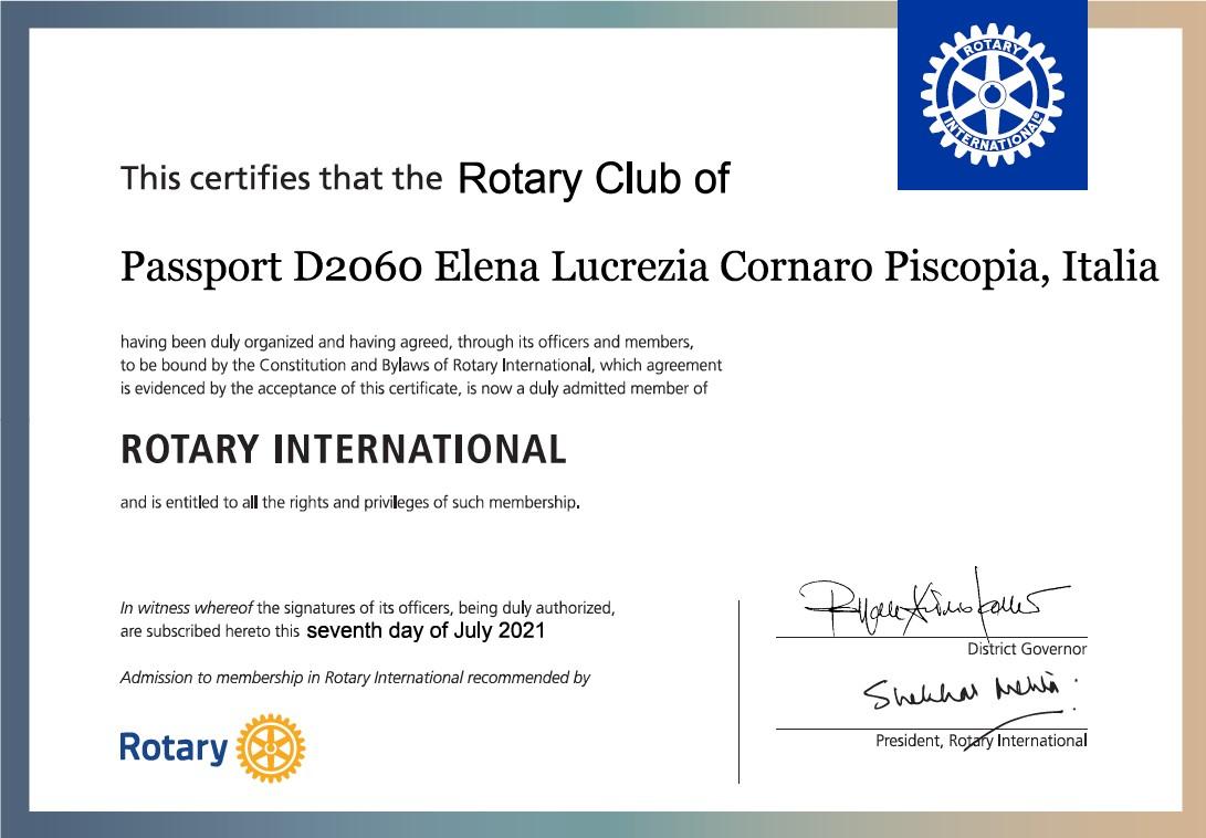 Carta Costitutiva (Foundig Charter) RC Passport D2060 Elena Lucrezia Cornaro Piscopia Italia