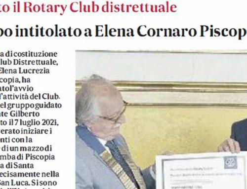 FONDATO IL ROTARY CLUB DISTRETTUALE INTITOLATO A ELENA CORNARO PISCOPIA