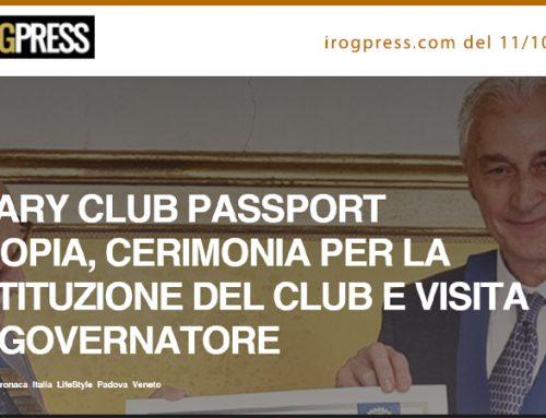ROTARY CLUB PASSPORT PISCOPIA, CERIMONIA PER LA COSTITUZIONE DEL CLUB E VISITA DEL GOVERNATORE